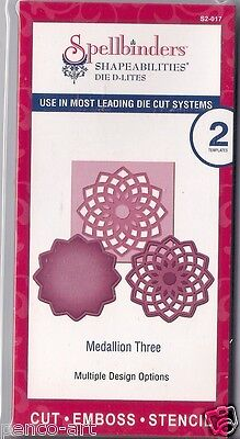 Spellbinders Shapeabilities Die D-Lites cut emboss stencil Medallion Three 2pc