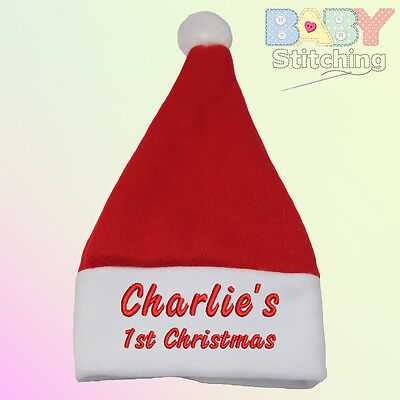 """Name 1st Christmas"" Personalised Embroidered Santa Baby Hat - Baby Gift"