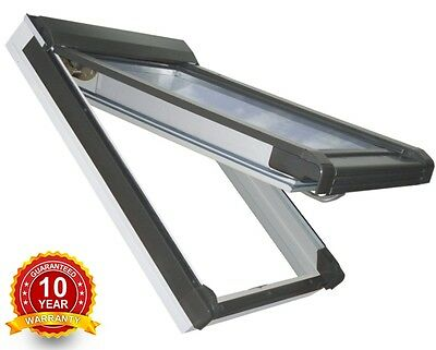 PVC Top Hung Escape Access Roof Windows 78cm x 98cm + Flashing.Rooflight Sunlux