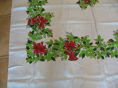 """Vintage Christmas Tablecloth 60 x 100"""" HOLLY BELLS BOWS on WHITE"""