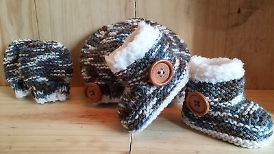 Baby Boys Hand Knitted Hat,boots / Booties & Mitts- Early Baby, Nb, 0-3 M -3-6 M