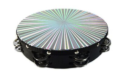 """New 10"""" Reflective Double Row Jingle Percussion Tambourine for Church Band Music"""