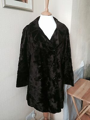 Ladies Vintage Faux Fur Brown Evening Party Coat Double Breasted