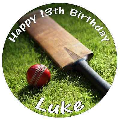 """Cricket Bat And Ball Personalised Cake Topper Edible Wafer Paper 7.5"""""""