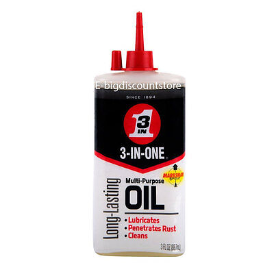 3 In One Multi Purpose Household Oil Lubricates Penetrates Rust Cleans 3 oz USA