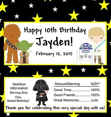 12 Personalized Star Wars Style 2 Birthday Candy Bar Wrappers