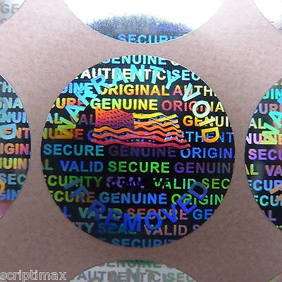 100 serial #  ROUND.50 inch 13mm TAMPER EVIDENT SECURITY VOID HOLOGRAM STICKERS
