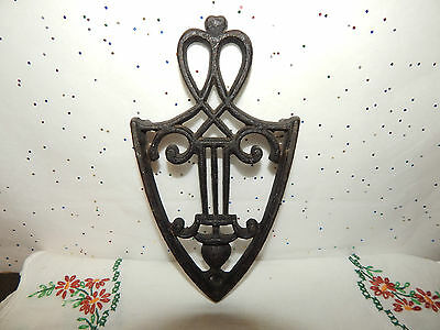 Antique Cast Iron Trivet Hot Pad~Musical Symbols~3 Feet~Rare, Hard To Find.!!