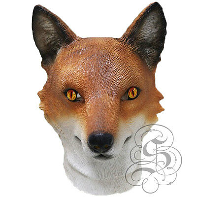 Latex Animal Realistic European Red FOX Fancy Dress Props Cosplay Carnival Mask