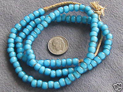 """20"""" Str Vintage African Glass Trade Beads, Turquoise White Hearts"""