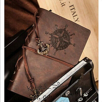 """7""""x5"""" Vintage Retro Leather Cover Notebook Journal Diary Blank String Nautical"""