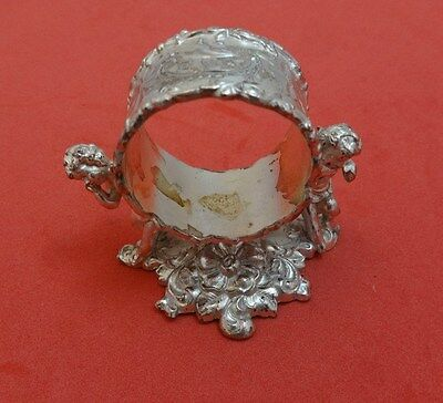 Figural Silverplate Napkin Ring with 2 Cupids by Derby Co.