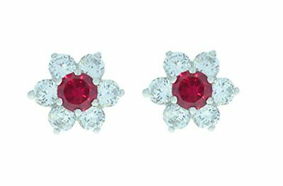 3 Ct Created Ruby & White Topaz Round Stud Earrings White Gold Silver