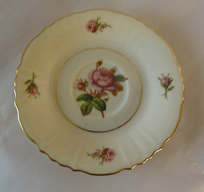 SYRACUSE CHINA Federal Shape 2 saucers with roses and gold trim