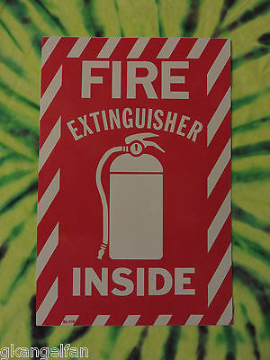 """(One) Large """"fire Extinguisher Inside"""" Self-Adhesive Vinyl Sign...6"""" X 9"""" New"""
