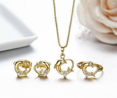 """Kids 18K Gold Filled Dolphin Earrings Ring Pendant 16"""" Necklace Jewellery Sets"""