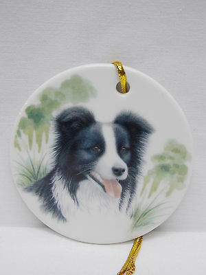 Border Collie Dog 3 In Round Porcelain Christmas Tree Ornament Fired Decal-L