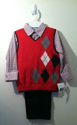 Nwt Good Lad Apparel Boys Size 4 Red and Black 3-pc Set
