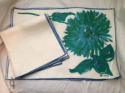 Vintage Vera Neumann Lady Bug Mid Century set of 4 placemats and napkins