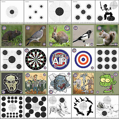 Card/Paper. 14 & 17cm. Air Rifle Pistol Gun BB Airsoft Shooting Practise Targets