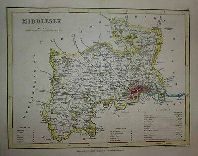 1842 Joshua Archer Historic County Map MIDDLESEX LONDON North of Thames DETAILED