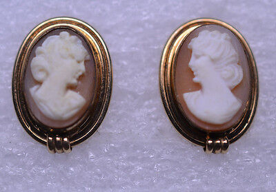 Vintage Van Dell Gold Filled Oval Shell Cameo Screw Earrings