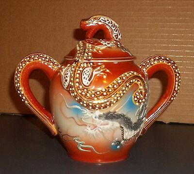 """Decorative Dragonware Sugar Bowl With Lid Stands 6"""" High Made In Japan"""