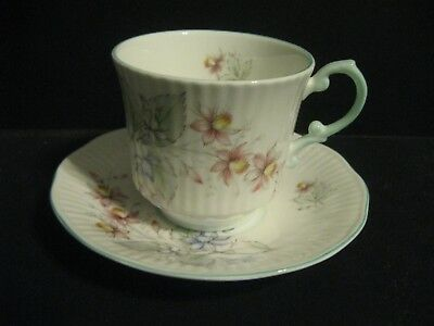 Queens Fine Bone China Rosina Tea Cup & Saucer Blue Pink Flowers Made in England