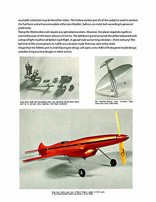 """Vintage Control Line 1/2A 14"""" Speed Model Airplane Full Size Printed Plan & Note"""