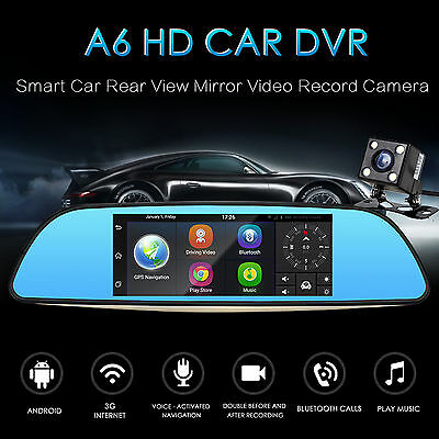 """5"""" Quad Core Android 4.0 Car DVR Dash Cam GPS WiFi Rearview Mirror Monitor+CAM"""
