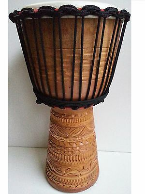 "Pro Quality Mahogany Wood Bongo Djembe Drum Tribalm Deep Carved 50Cm 9-9.5"" Head"