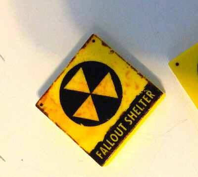 Yellow 2x2 Tile FALLOUT SHELTER Nuclear Radiation indicator apocalyptic sign fig