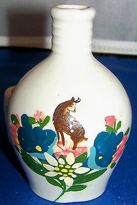 Vintage German Miniature Handpainted Whiskey Jug w/Attached Shot Cup