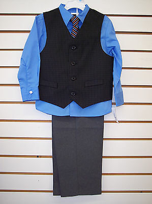 Boys 4 pc. suit Light. blue, black and Gray with vest & tie sizes 3T,4, 5, 6 &7