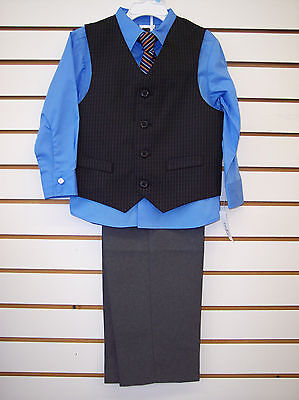 Toddler & Boys 4pc suit Light. blue, black and Gray with vest & tie sizes 3T - 7