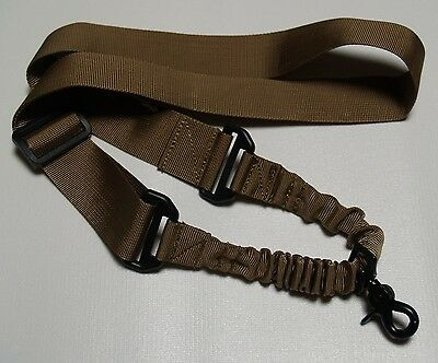 Rifle Sling - Single Point Tactical Bungee Sling Quick Release Clasp Coyote Tan