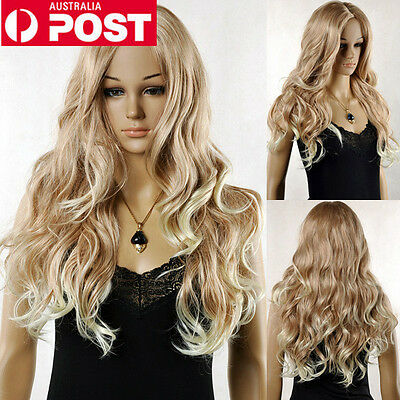 Sexy Lady Mix Blonde Long Curly Wavy Bangs Cosplay Women Hair Full Wig Wigs