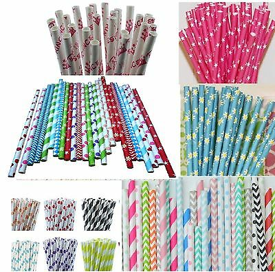 25  Paper Straws Party Drinking Striped Chevron Heart Polka  Any Mix And Match