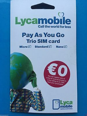 Lycamobile Pay As You Go Irish Network Sim Card Irl Micro Nano Standard Ireland