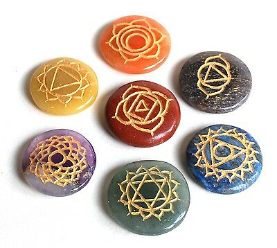 Reiki Energy Charged Crystal Chakra Set 7 X Engraved Sanskrit Palm Stones Gift