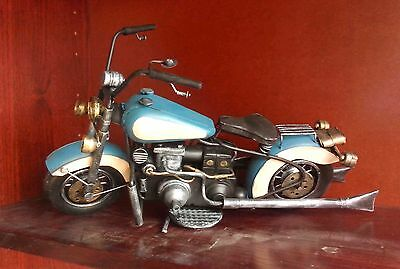 20cm Rustic Metal Handmade Blue/Cream Model Motorbike   A1R