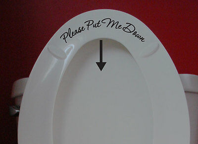 "Toilet Seat Sign Sticker Decal ""Please Put Me Down Funny Humorous Bathroom decor"