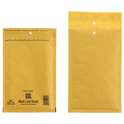 Mail Lite Gold Mailing Padded Postal Bags B/00 120MM X 210MM Envelopes - Bx 100