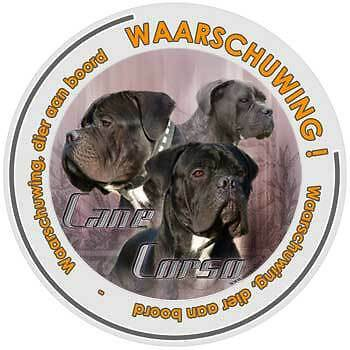 Circulaire car window sticker aandacht voor Hond Cane Corso decal