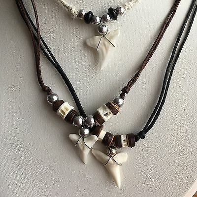 Shark Tooth Surfer Necklace Adjustable Cord Wood Beads