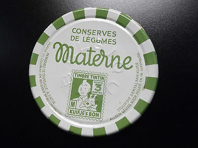Rare Couvercle confiture Materne Point timbre Tintin