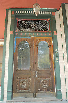 Antique Victorian Entry Doors With Stained Glass Transom Architectural Salvage