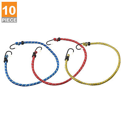 "10pc Bungee Cord Tie Down Set | 24"" inch Heavy Duty Straps 2 Hooks"