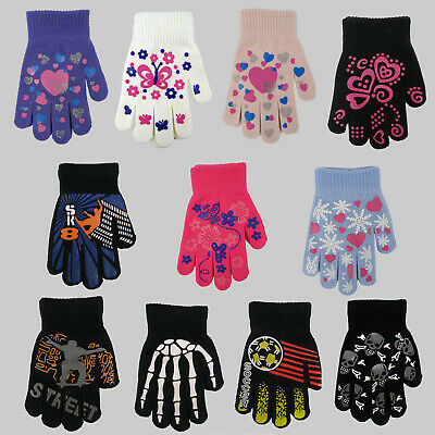 Kids Girls Boys Gloves Magic Gripper Warm Winter Stretch Childrens Halloween