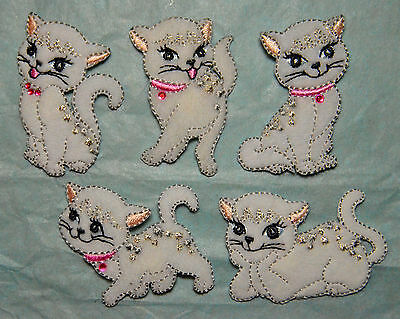 Cute white cat Motif Iron / Sew On Embroidery Patch Badge Embroideries